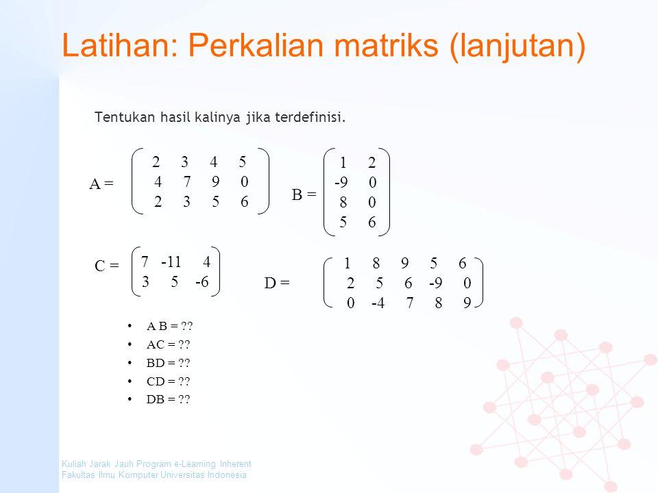 Latihan: Perkalian matriks (lanjutan)