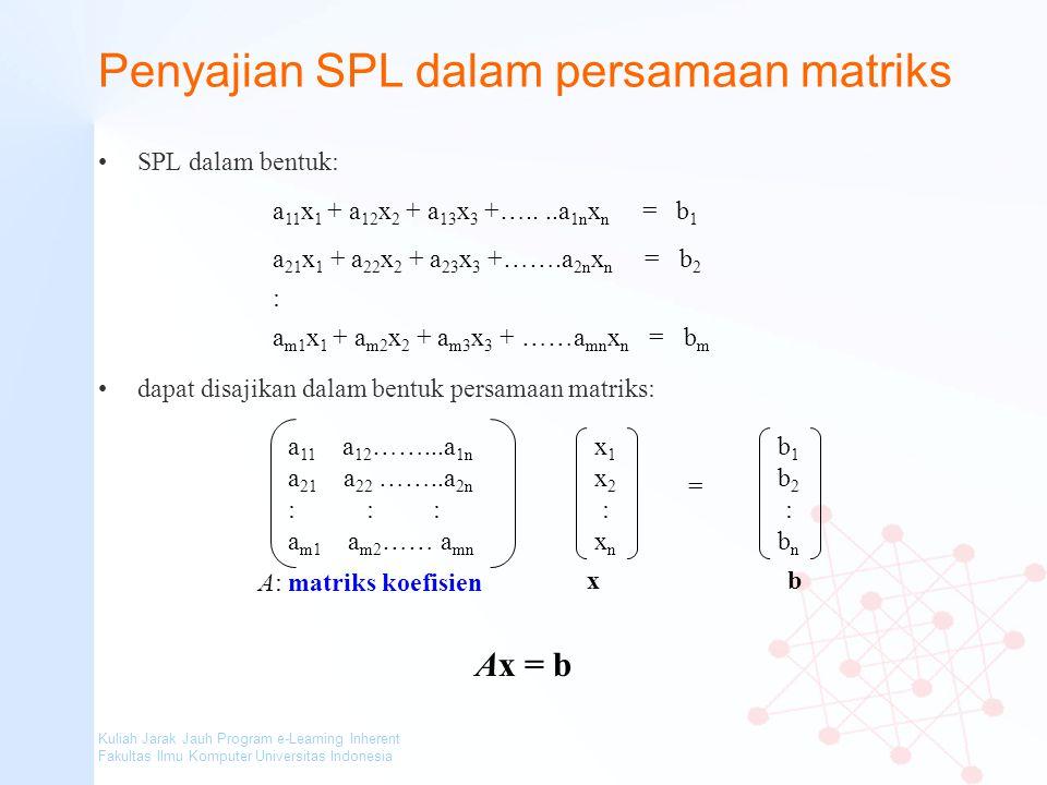 Penyajian SPL dalam persamaan matriks