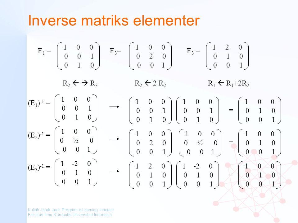 Inverse matriks elementer