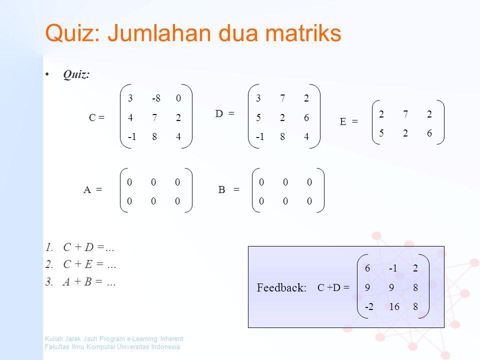Quiz: Jumlahan dua matriks