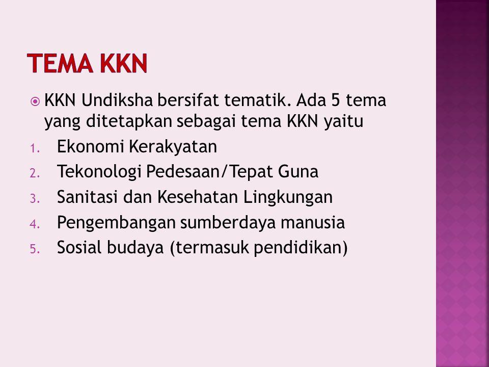 Tema KKN KKN Undiksha bersifat tematik. Ada 5 tema yang ditetapkan sebagai tema KKN yaitu. Ekonomi Kerakyatan.