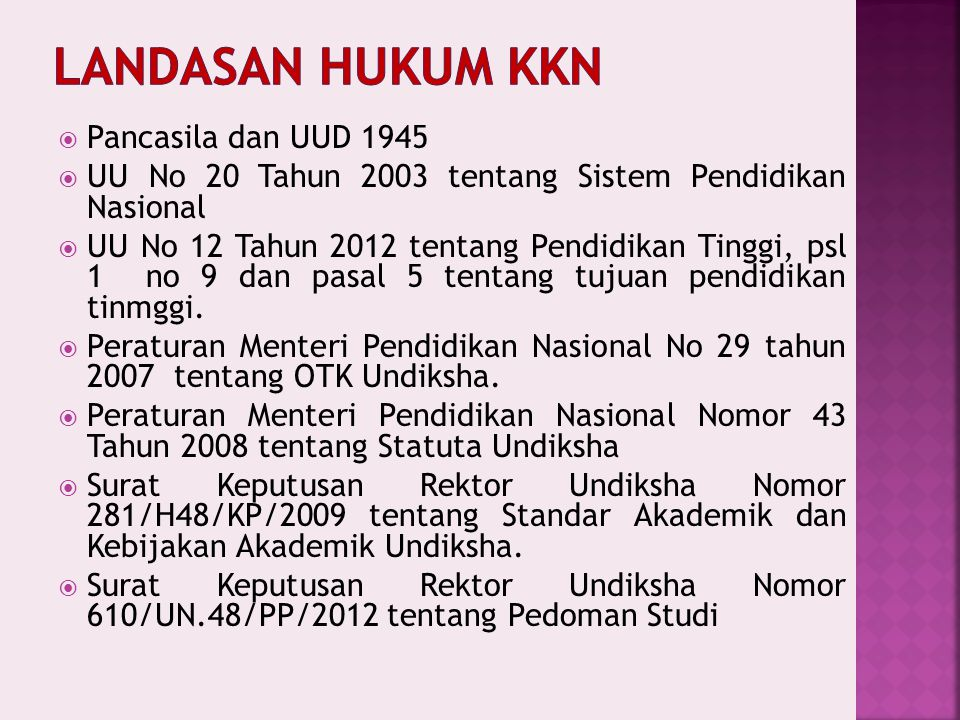 LANDASAN HUKUM KKN Pancasila dan UUD 1945