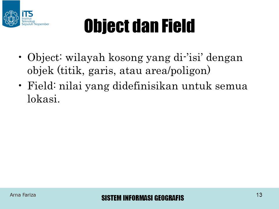 Object dan Field Object: wilayah kosong yang di-'isi' dengan objek (titik, garis, atau area/poligon)