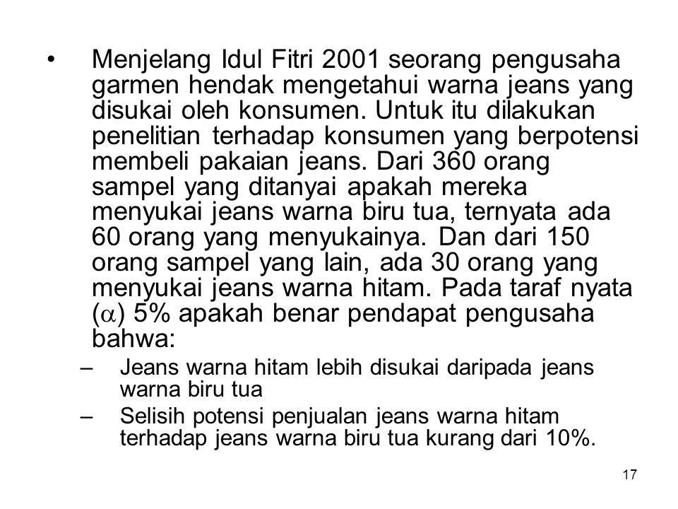 Menjelang Idul Fitri 2001 seorang pengusaha garmen hendak mengetahui warna jeans yang disukai oleh konsumen. Untuk itu dilakukan penelitian terhadap konsumen yang berpotensi membeli pakaian jeans. Dari 360 orang sampel yang ditanyai apakah mereka menyukai jeans warna biru tua, ternyata ada 60 orang yang menyukainya. Dan dari 150 orang sampel yang lain, ada 30 orang yang menyukai jeans warna hitam. Pada taraf nyata () 5% apakah benar pendapat pengusaha bahwa: