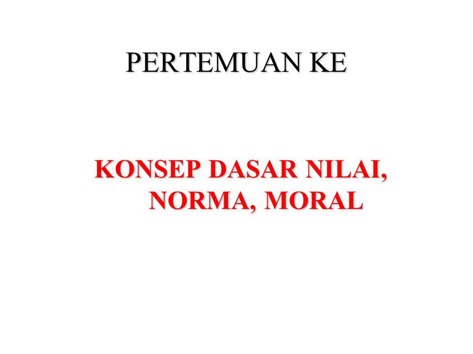 KONSEP DASAR NILAI, NORMA, MORAL