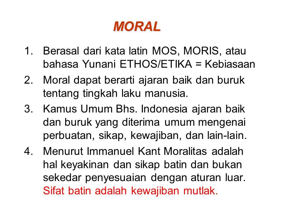 MORAL Berasal dari kata latin MOS, MORIS, atau bahasa Yunani ETHOS/ETIKA = Kebiasaan.