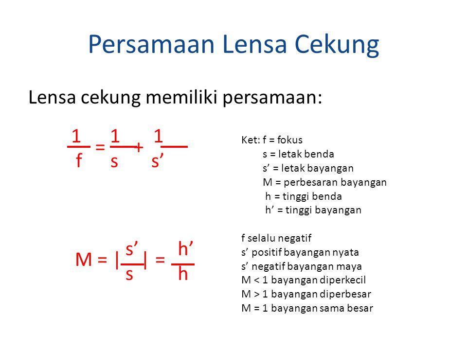 Persamaan Lensa Cekung