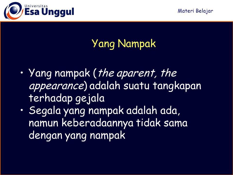 Materi Belajar Yang Nampak. Yang nampak (the aparent, the appearance) adalah suatu tangkapan terhadap gejala.