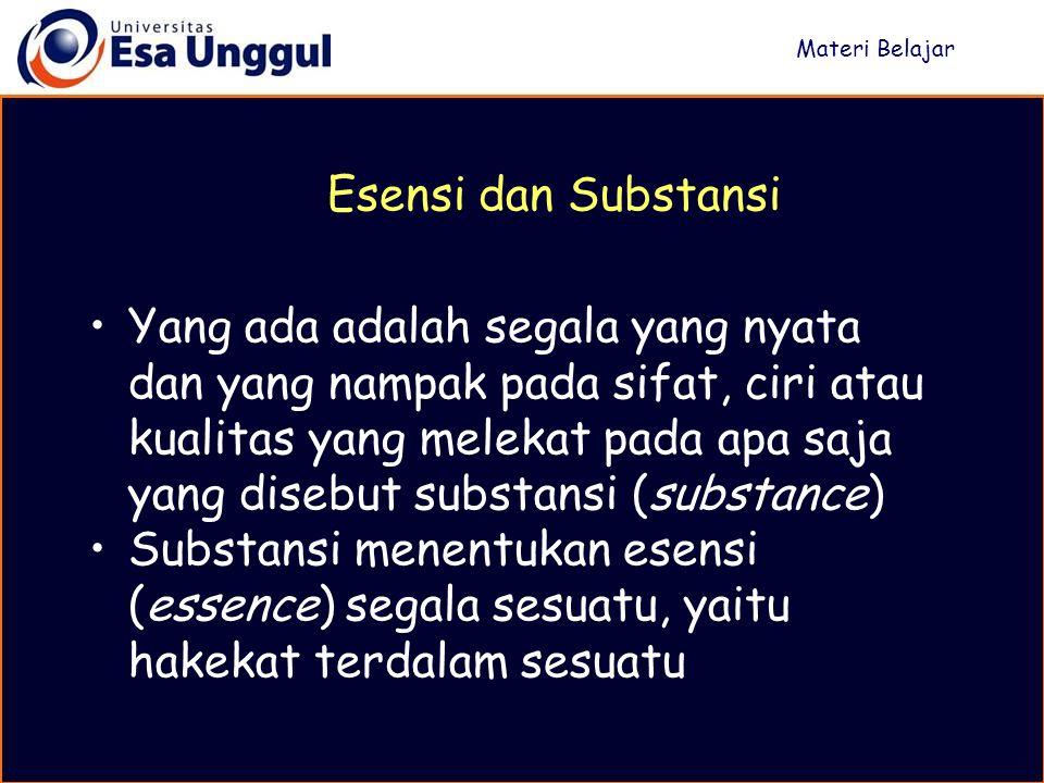 Materi Belajar Esensi dan Substansi.