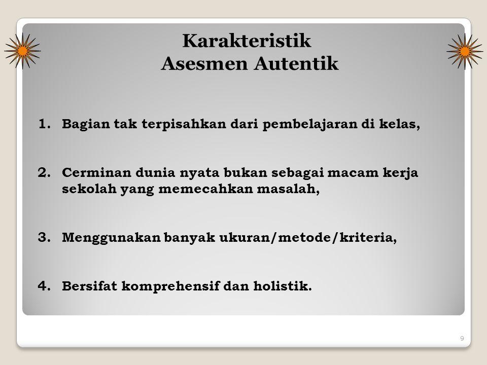 Karakteristik Asesmen Autentik