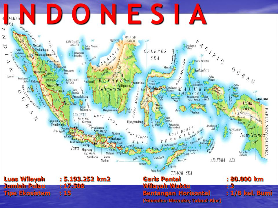I N D O N E S I A Luas Wilayah : 5.193.252 km2 Garis Pantai : 80.000 km. Jumlah Pulau : 17.508 Wilayah Waktu : 3.