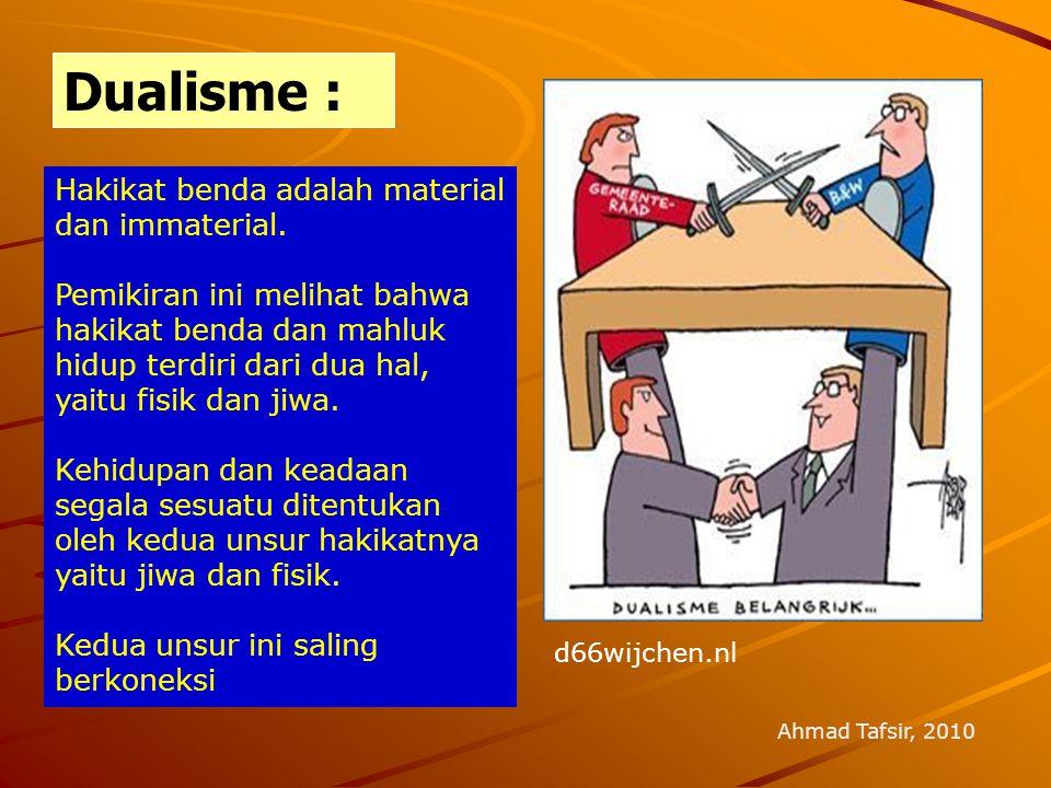 Dualisme : Hakikat benda adalah material dan immaterial.