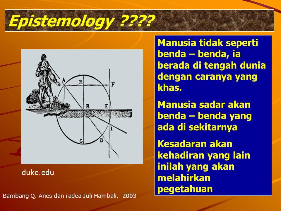 Epistemology Manusia tidak seperti benda – benda, ia berada di tengah dunia dengan caranya yang khas.