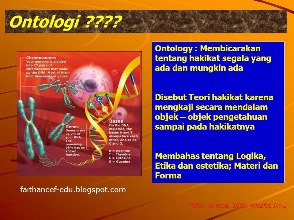 Ontologi Ontology : Membicarakan tentang hakikat segala yang ada dan mungkin ada.