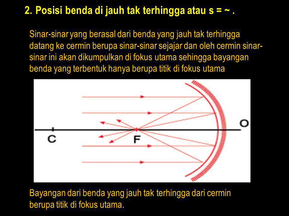 Posisi benda di jauh tak terhingga atau s = ~ .
