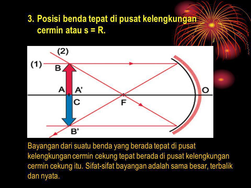 Posisi benda tepat di pusat kelengkungan cermin atau s = R.