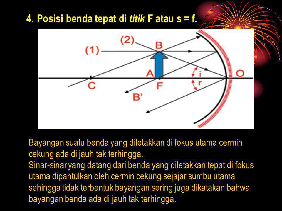 Posisi benda tepat di titik F atau s = f.