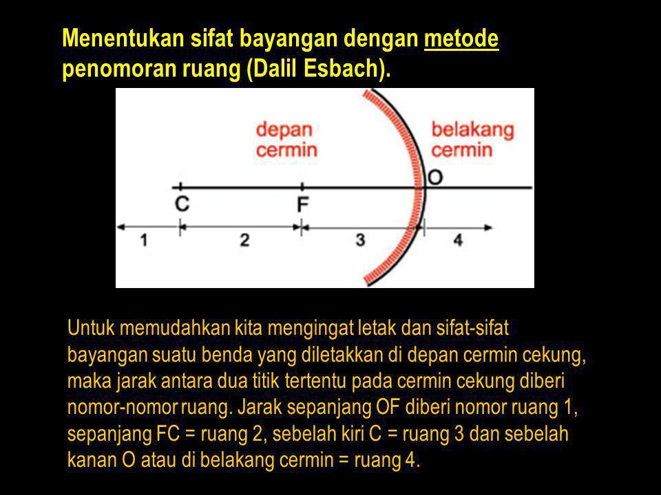 Menentukan sifat bayangan dengan metode penomoran ruang (Dalil Esbach).