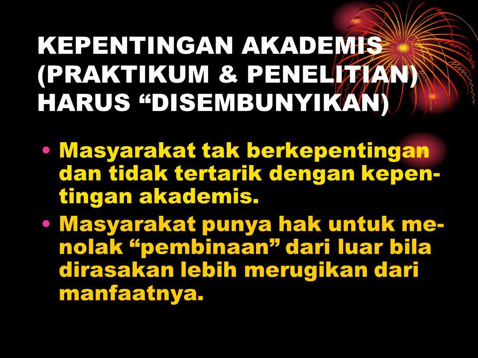 KEPENTINGAN AKADEMIS (PRAKTIKUM & PENELITIAN) HARUS DISEMBUNYIKAN)