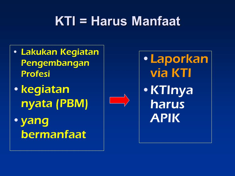 KTI = Harus Manfaat Laporkan via KTI KTInya harus APIK