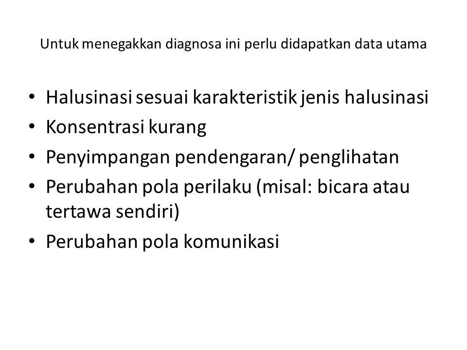 Untuk menegakkan diagnosa ini perlu didapatkan data utama