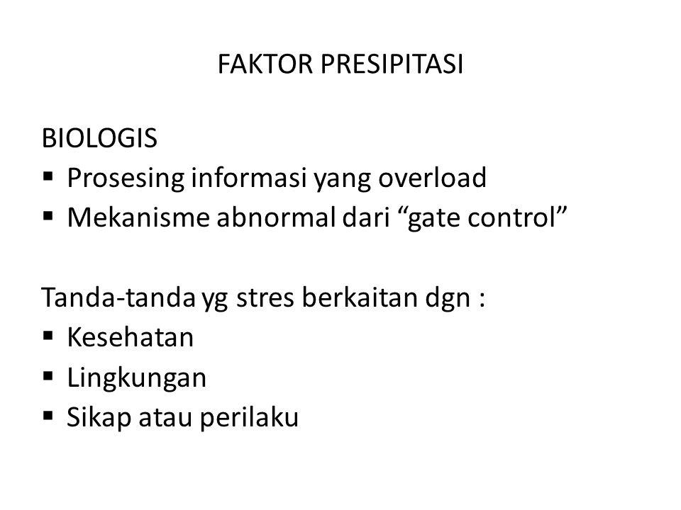 FAKTOR PRESIPITASI BIOLOGIS. Prosesing informasi yang overload. Mekanisme abnormal dari gate control