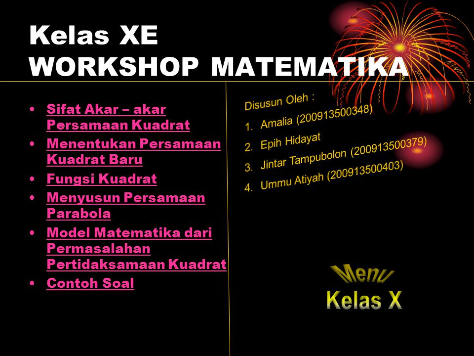 Kelas XE WORKSHOP MATEMATIKA