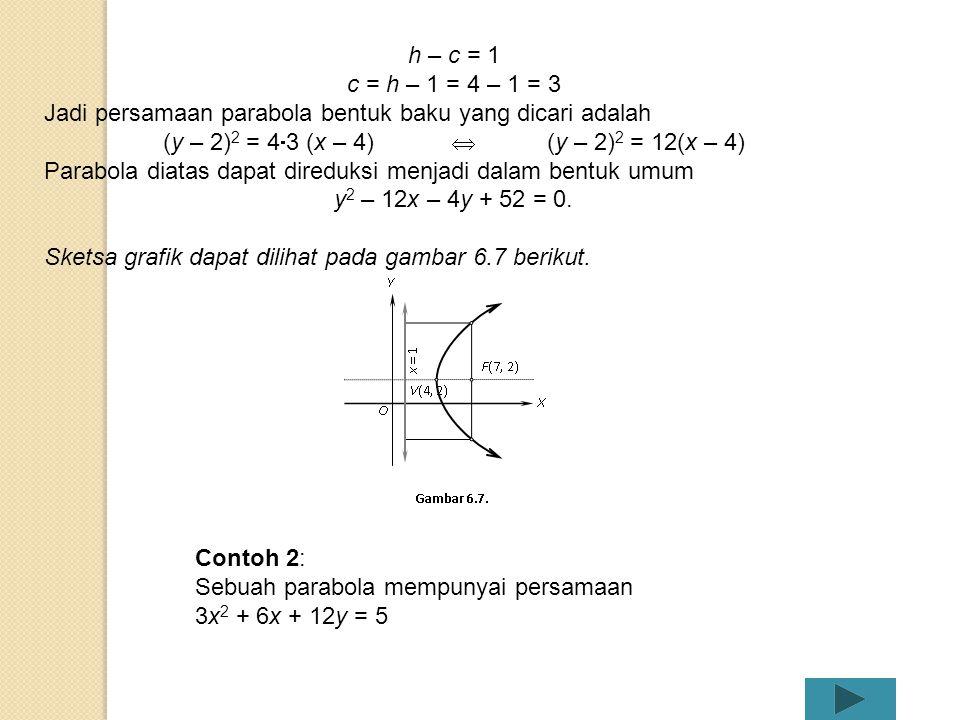 (y – 2)2 = 43 (x – 4)  (y – 2)2 = 12(x – 4)