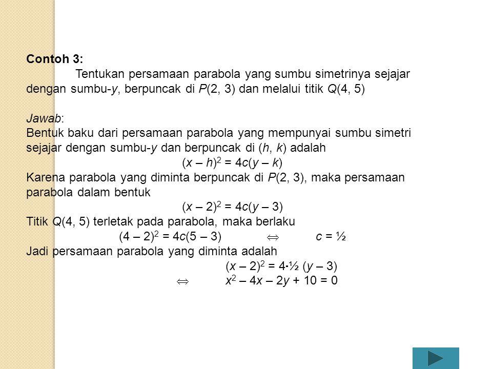 Contoh 3: Tentukan persamaan parabola yang sumbu simetrinya sejajar dengan sumbu-y, berpuncak di P(2, 3) dan melalui titik Q(4, 5)