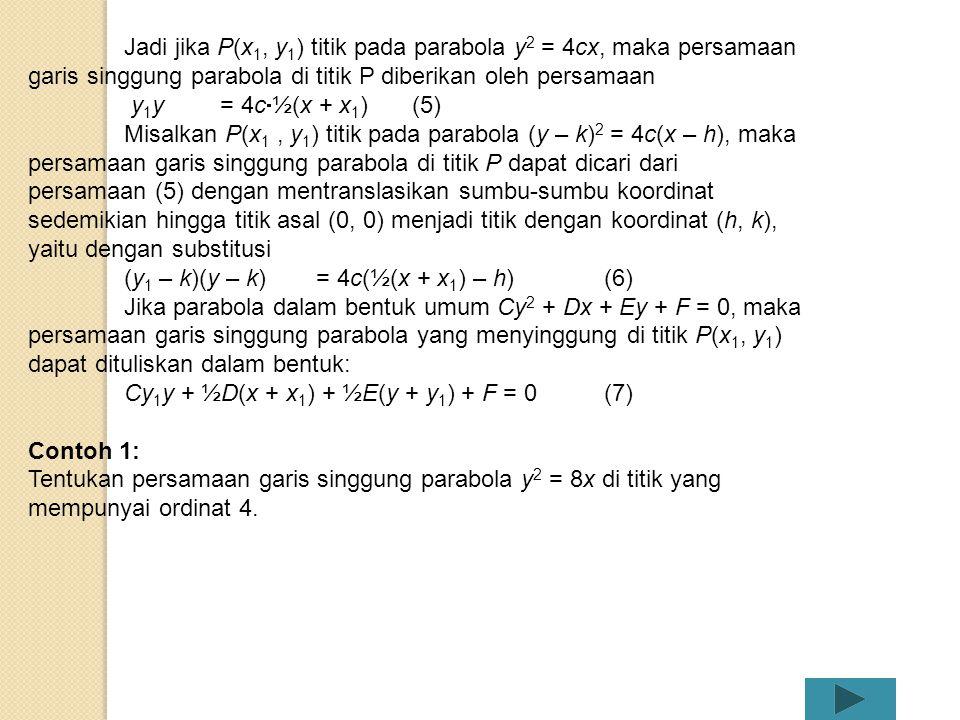 Jadi jika P(x1, y1) titik pada parabola y2 = 4cx, maka persamaan garis singgung parabola di titik P diberikan oleh persamaan