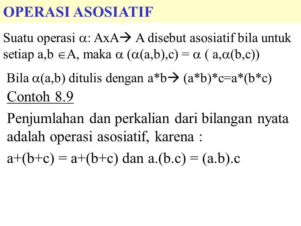 a+(b+c) = a+(b+c) dan a.(b.c) = (a.b).c