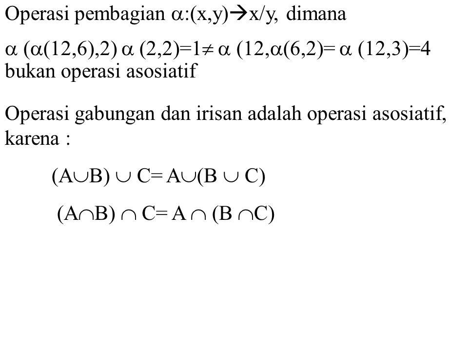 Operasi pembagian :(x,y)x/y, dimana