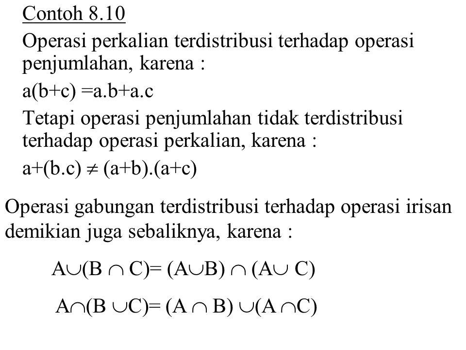Contoh 8.10 Operasi perkalian terdistribusi terhadap operasi penjumlahan, karena : a(b+c) =a.b+a.c.