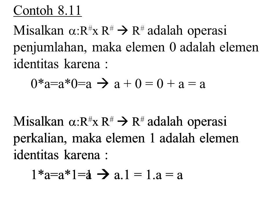 Contoh 8.11 Misalkan :R#x R#  R# adalah operasi penjumlahan, maka elemen 0 adalah elemen identitas karena :