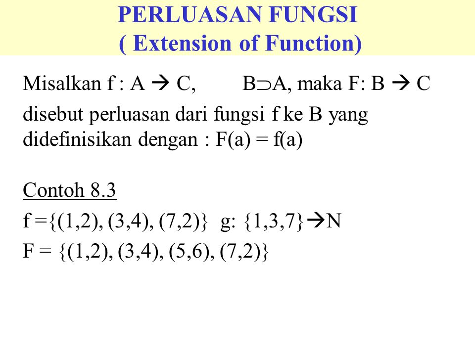 PERLUASAN FUNGSI ( Extension of Function)