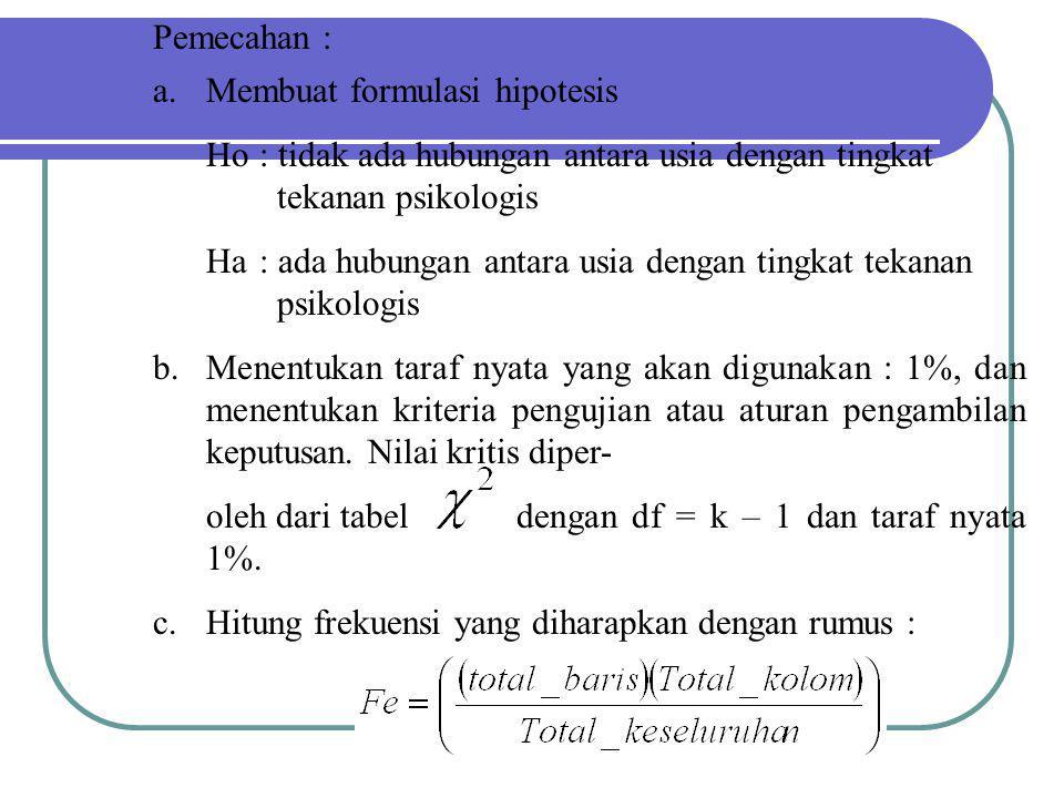 Pemecahan : Membuat formulasi hipotesis. Ho : tidak ada hubungan antara usia dengan tingkat tekanan psikologis.
