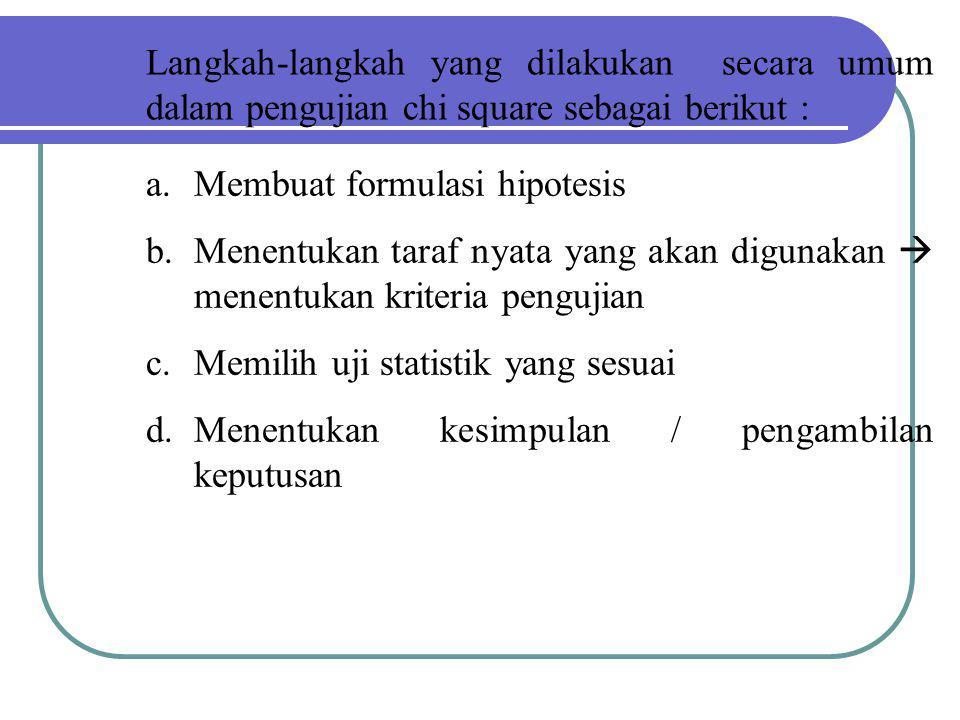 Langkah-langkah yang dilakukan secara umum dalam pengujian chi square sebagai berikut :