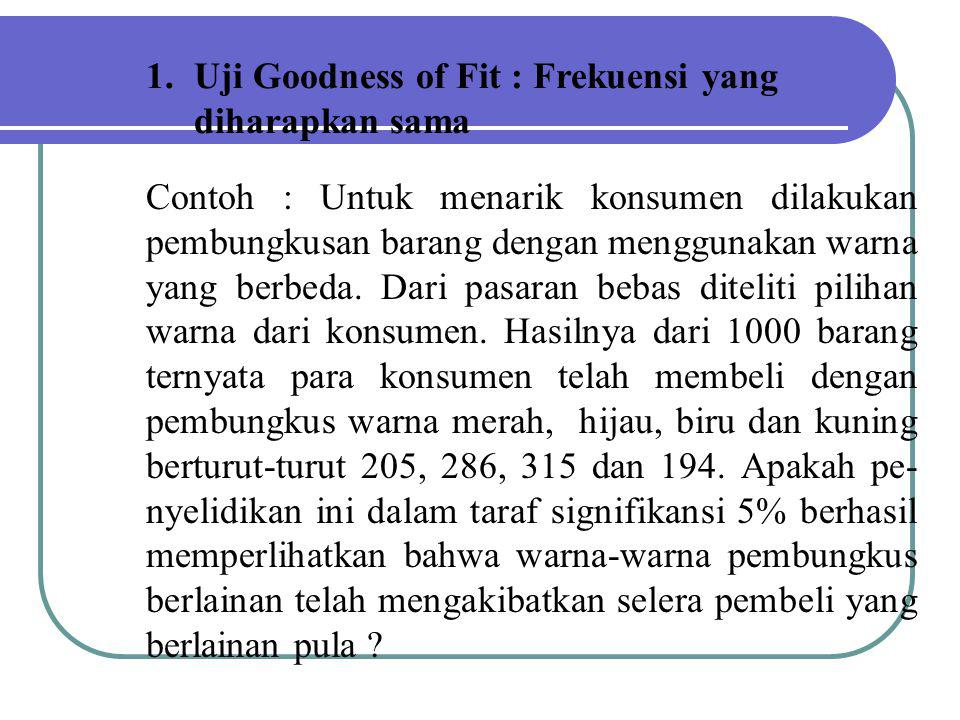 Uji Goodness of Fit : Frekuensi yang diharapkan sama