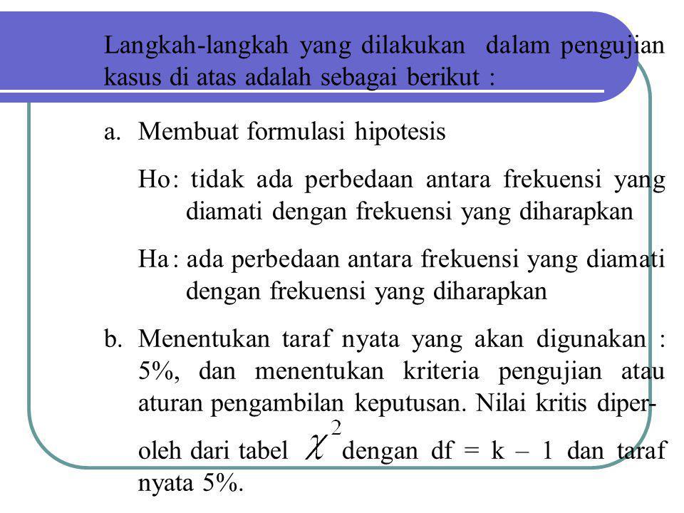 Langkah-langkah yang dilakukan dalam pengujian kasus di atas adalah sebagai berikut :
