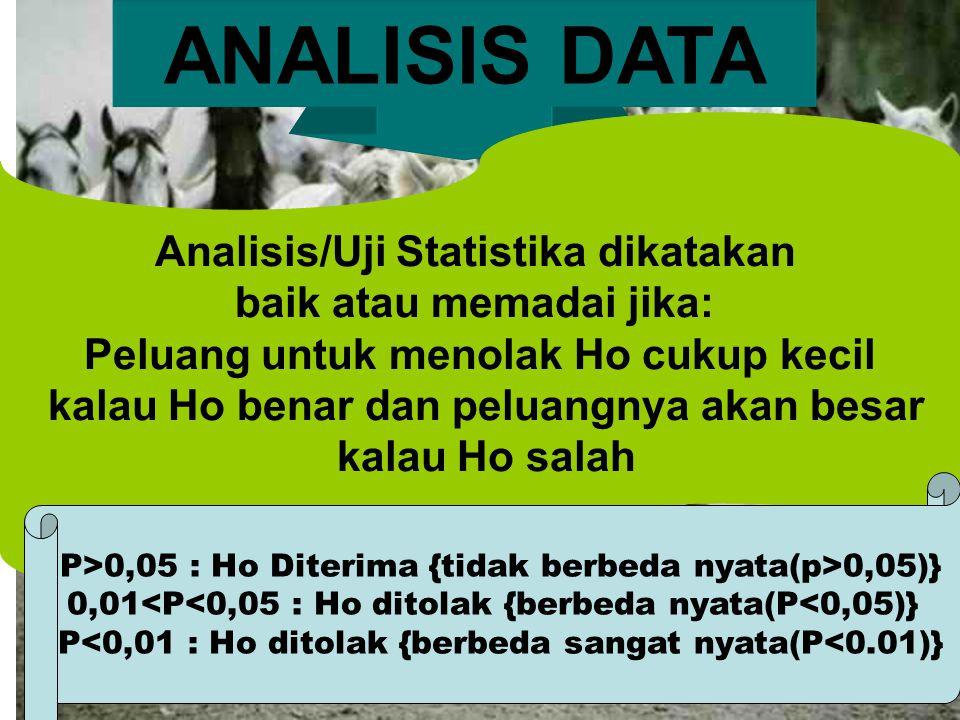 ANALISIS DATA Analisis/Uji Statistika dikatakan