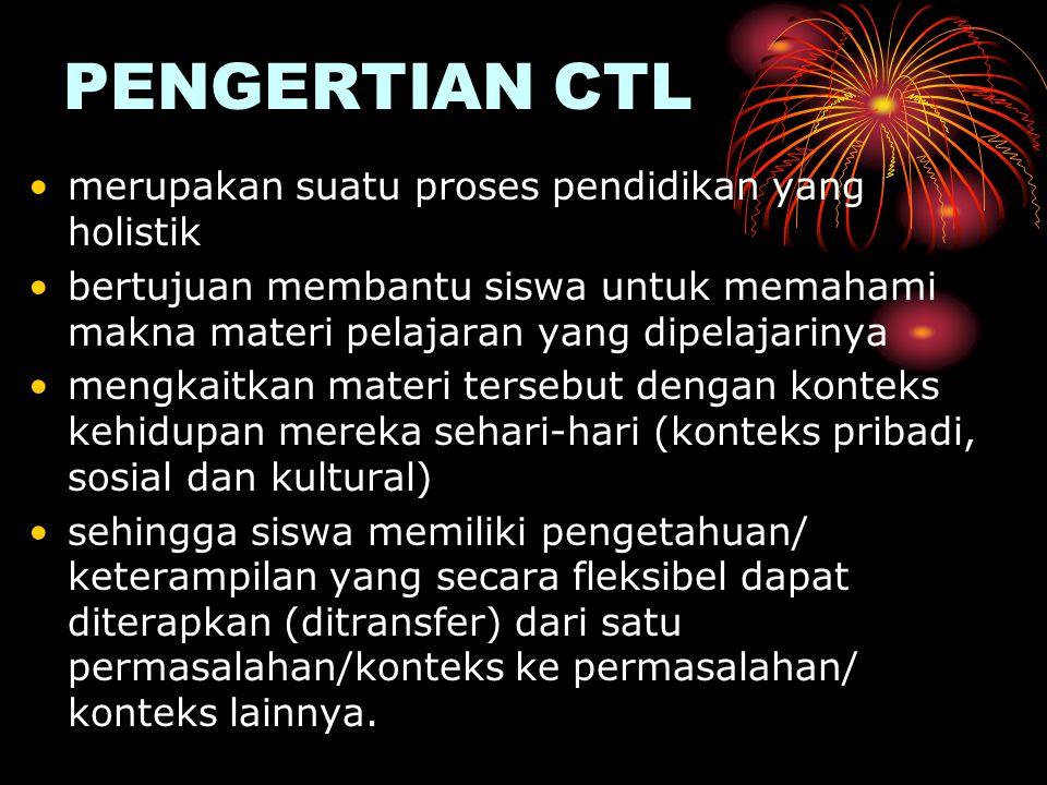 PENGERTIAN CTL merupakan suatu proses pendidikan yang holistik