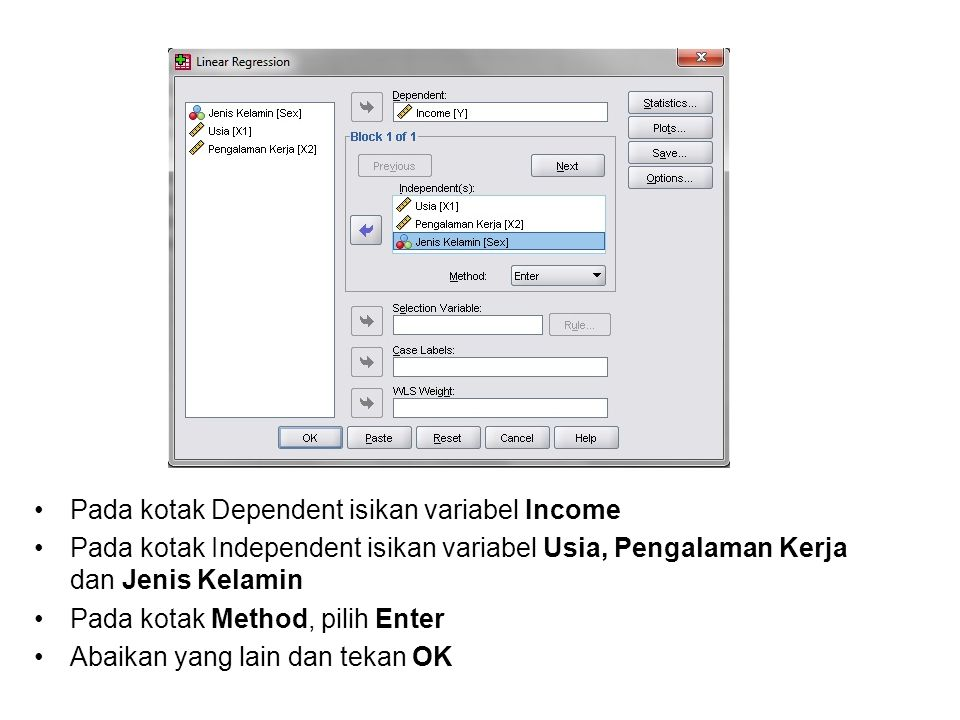 Pada kotak Dependent isikan variabel Income