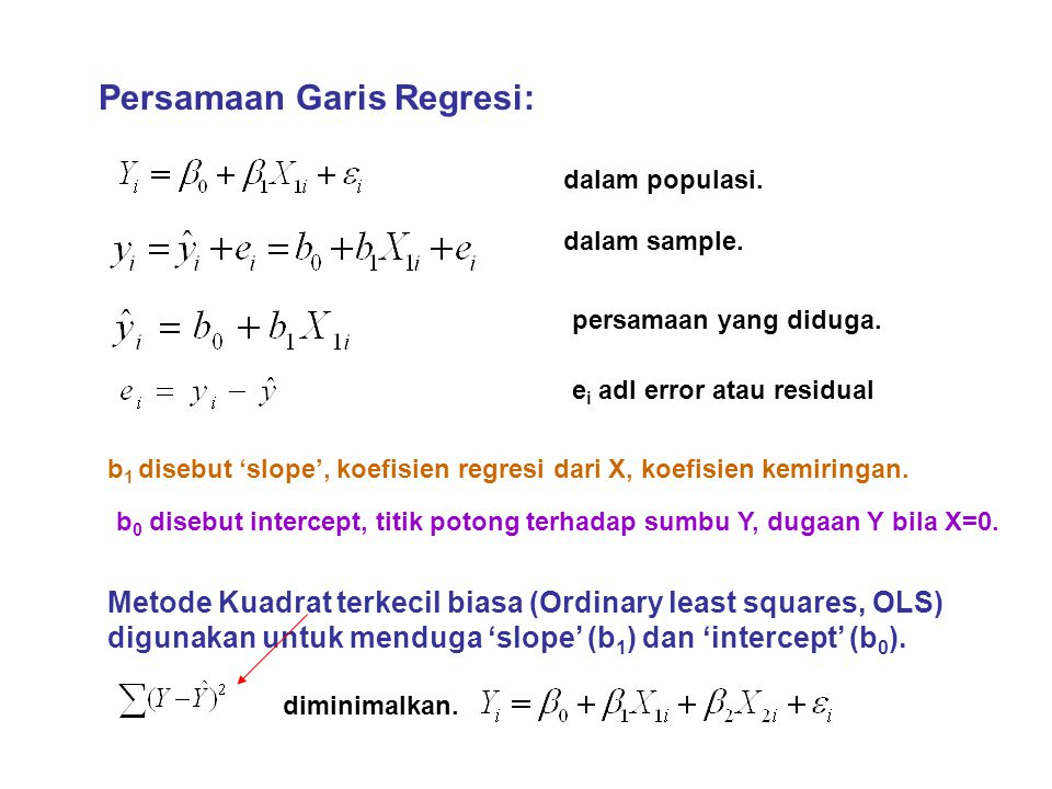 Persamaan Garis Regresi: