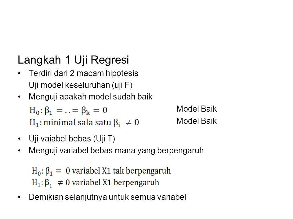 Langkah 1 Uji Regresi Terdiri dari 2 macam hipotesis