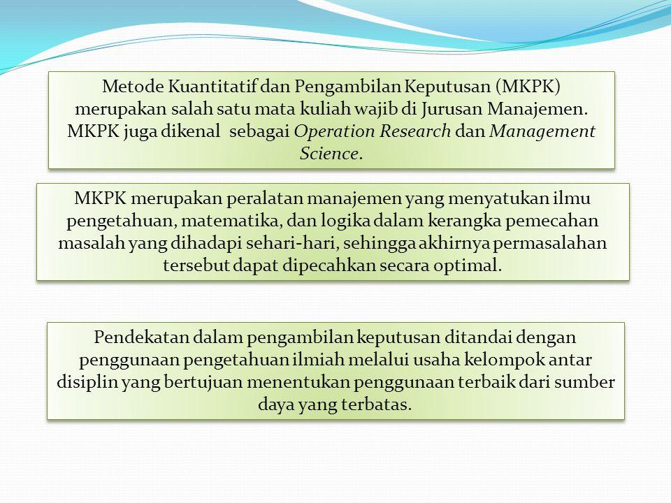 Metode Kuantitatif dan Pengambilan Keputusan (MKPK) merupakan salah satu mata kuliah wajib di Jurusan Manajemen. MKPK juga dikenal sebagai Operation Research dan Management Science.