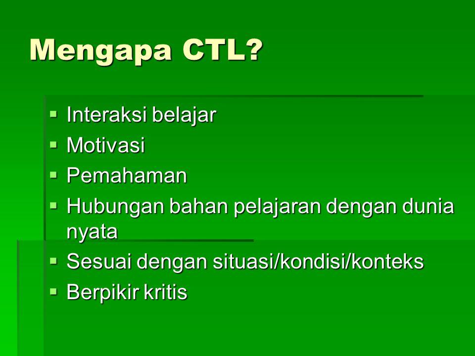 Mengapa CTL Interaksi belajar Motivasi Pemahaman