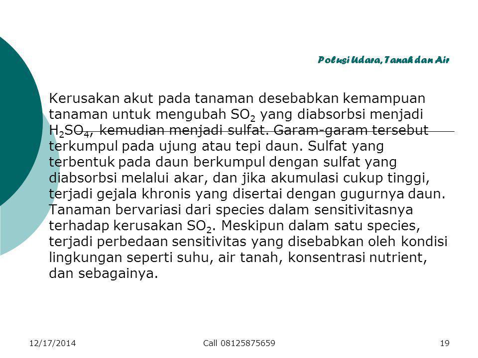 Polusi Udara, Tanah dan Air