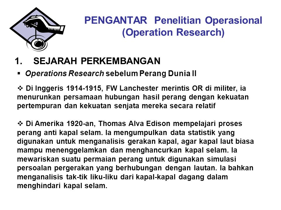 PENGANTAR Penelitian Operasional (Operation Research)