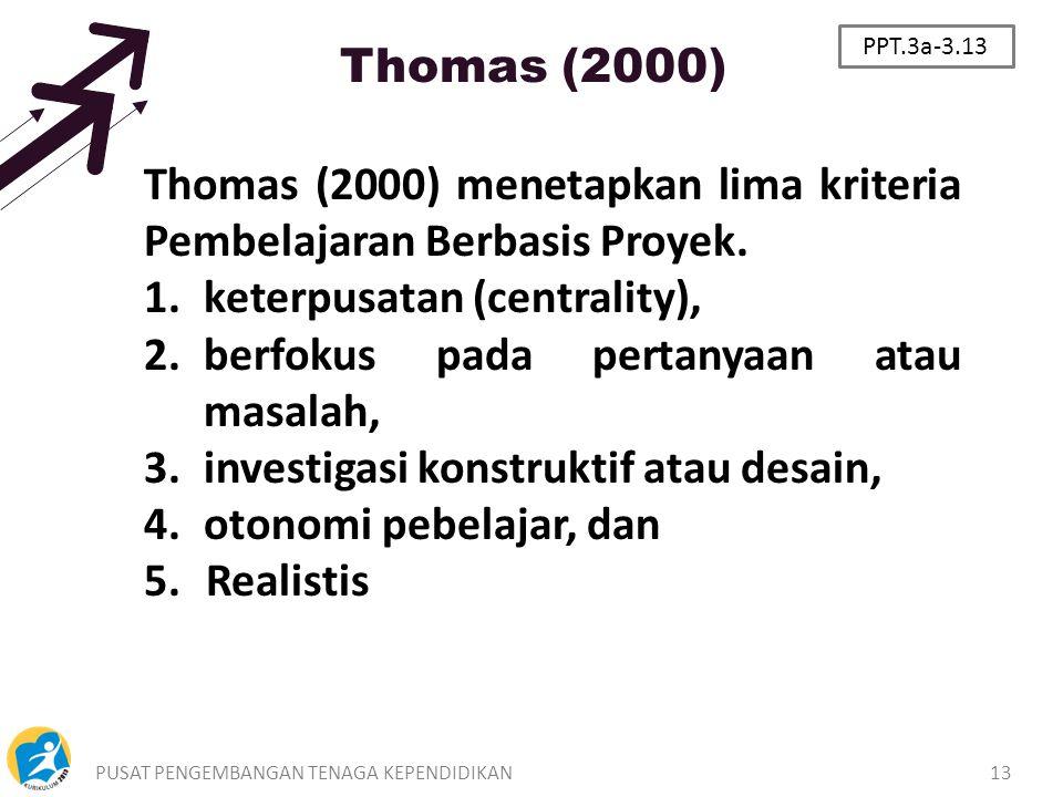 Thomas (2000) menetapkan lima kriteria Pembelajaran Berbasis Proyek.