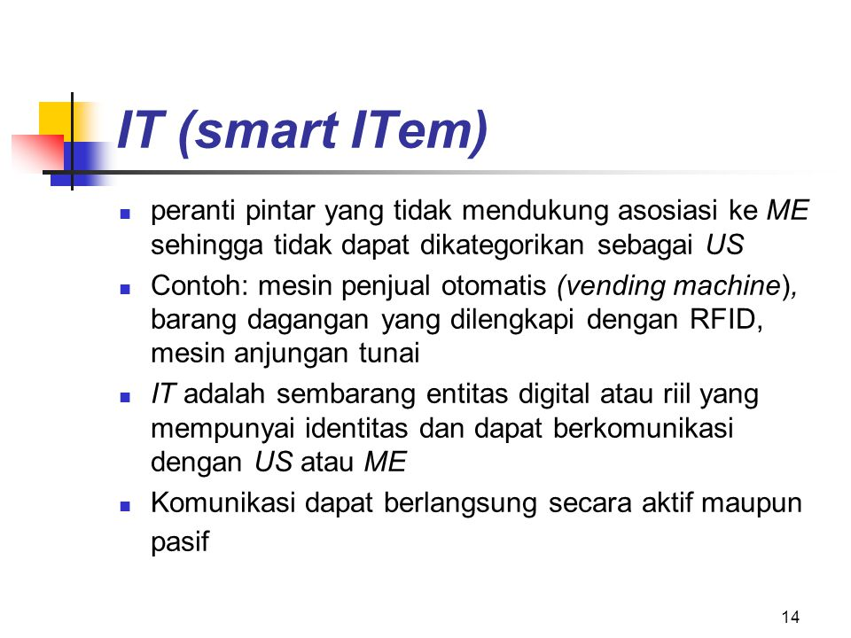 IT (smart ITem) peranti pintar yang tidak mendukung asosiasi ke ME sehingga tidak dapat dikategorikan sebagai US.